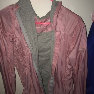 hooded grey and pink jacket